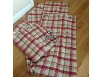 Red & cream check curtains