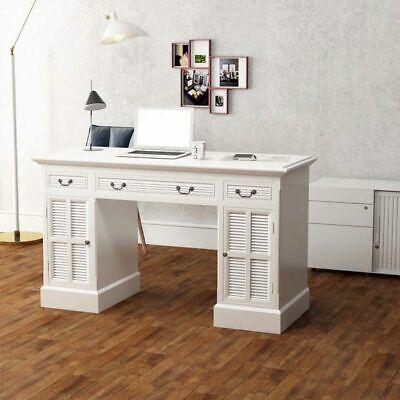 vidaXL Escritorio Pedestal Doble Blanco 140x48x80 cm Oficina Mobiliario Casa