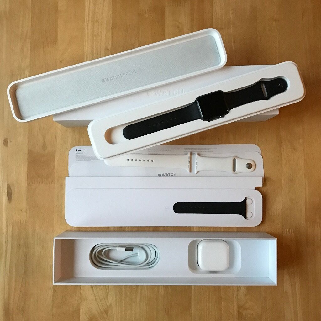 Black 42mm Apple Watch Sport + extra Sports Band, Box, Accessories