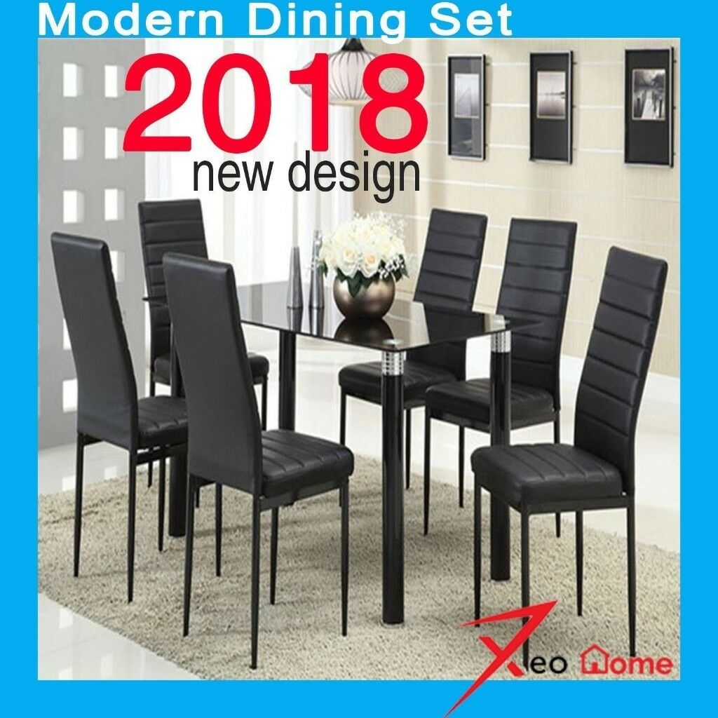 Black high gloss dining table set and 6 chrome leather dining chairs