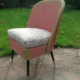 Retro Vintage Lloyd Loom Style Chair and Ottoman