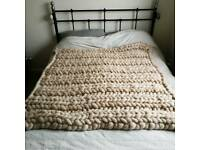 New handmade pure 100% natural wool blanket - 125×125cm - ideal for kids bedroom