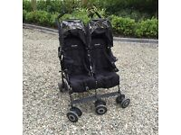 McClaren Techno double buggy with brand new raincovers