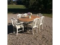 Shabby Chic Extending Pedestal Dining Table & 6 Ducal Dining Chairs in Farrow & Ball