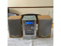 Sanyo compact disc player with cassette player and speakers