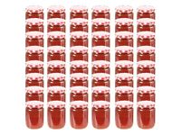 Glass Jam Jars with White and Red Lid 48 pcs 230 ml-50798
