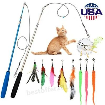 10pcs Lot Pet Cat Interactive Toys Mice Balls Bell Play Toy Feathers Teaser Wand