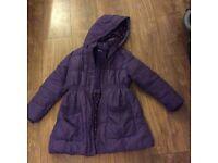 John Lewis Purple Girls Coat Age 9 Excellent Condition