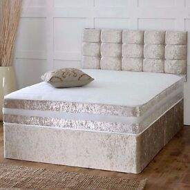 "DOUBLE CRUSHED VELVET DIVAN BED BASE WITH 9"" THICK DEEP QUILTED MATTRESS"