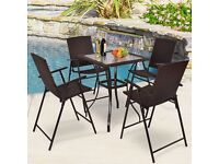 Rattan Table Furniture Chair Garden Wicker 4 Seater 5mm Tempered Glass Outdoor