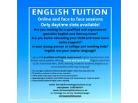 Online and face to face English tuition by qualified, experienced specialist tutor and teacher