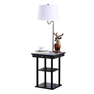 Brightech Madison LED Floor Lamp Swing Arm Lamp w/ Shade Built In End Table - BRAND NEW - FREE SHIPPING