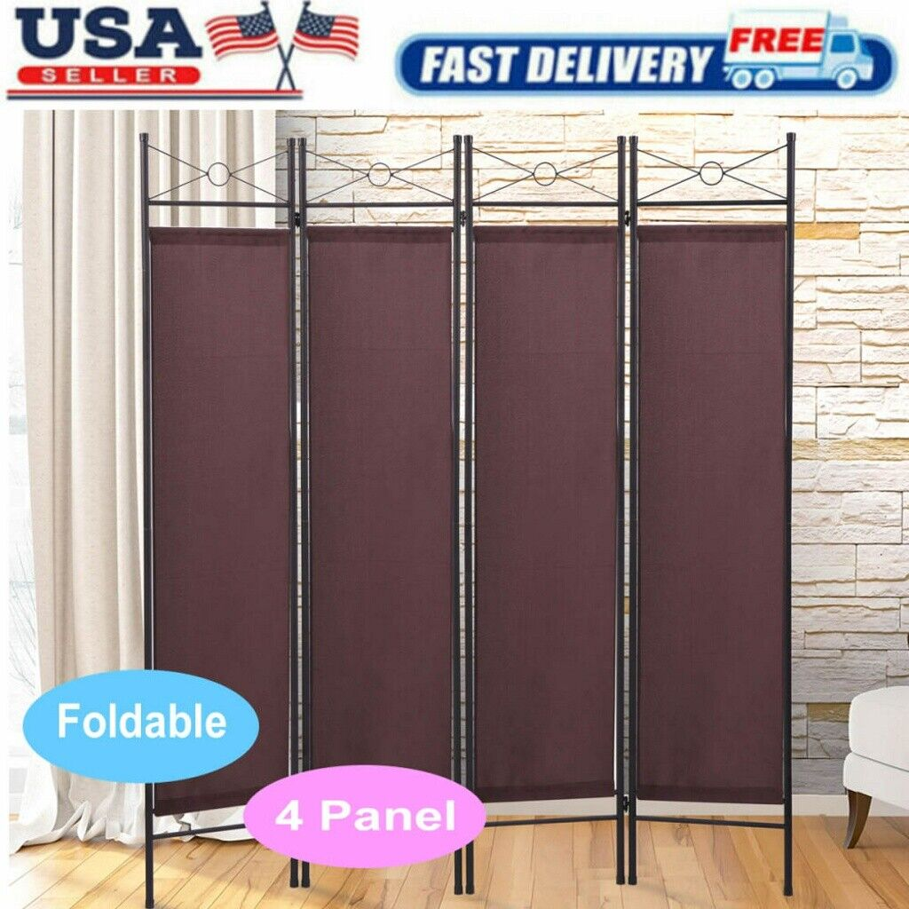 Folding 4 Panel Room Divider Privacy Room Screen Home Accent