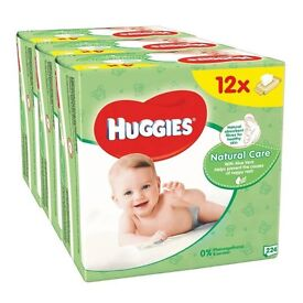 BNIB Huggies Natural Care Baby Wipes 12 pk, with aloe vera & vitamin E - SPECIAL OFFER PRICE