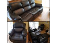 Black Leather recliners sofa and chair