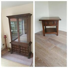 Matching display cabinet & side table