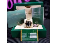Gold Rolex Datejust, black face. Comes Rolex boxed, paperwork & 1 years warrenty.