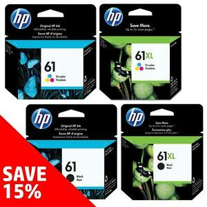 Original HP 61-Ink Black (& Colour) - Buy 2 Direct from HP Save 15%