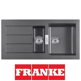 New Franke Sirius Reversible1.5 Bowl Tectonite Black Kitchen Sink & Waste(Graded)