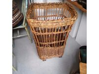 LARGE WICKER/WILLOW BASKET ON WHEELS, INDUSTRIAL QUALITY