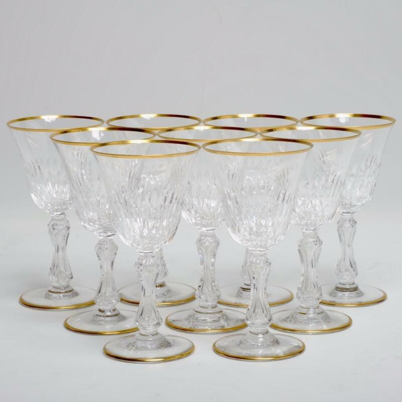 "NINE (9) SAINT LOUIS CRYSTAL ""LOZERE"" WINE GLASSES, VERTICAL CUTS & GOLD 6.5"""