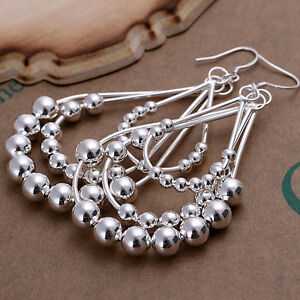 925 Sterling Silver Chandelier Beads Bali Hoop Pierced Earrings L154