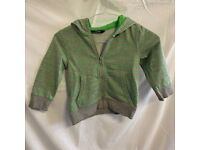 Neon Green and Grey Stripey Hoodie