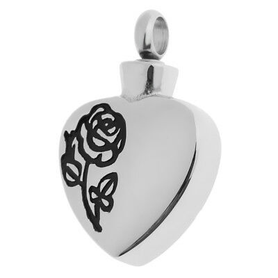 Heart Shaped with Black Rose Design Cremation Jewelry Pet Ashes Urn Pendants Rose Design Urn