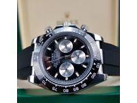 White's Watches -New Rolex - Black Face, Black Rubber Strap Rolex Daytona