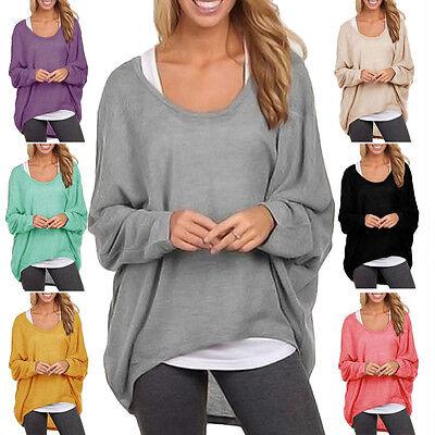 Damen Lose Hemd Lang Hemdbluse Top Pullover Bluse Langarm Stricken Sweatshirt