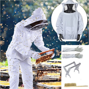 Beekeeping Veil Suit Smock+Gloves+Hive Frame Holder+Bee Brush Tool Equipment UP