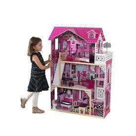 Brand New Kidkraft Amelia Wooden Dolls House Kids Toy Dollshouse