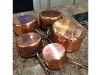 5 French copper saucepans with wooden hanging rack included.