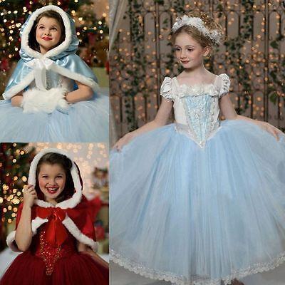 US little Girl Princess Dress + Cape Suit  Party Kids Cosplay Frozen Christmas