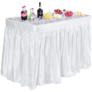 4 Foot Party Ice Cooler Folding Table Plastic with Matching Skirt White - BRAND NEW - FREE SHIPPING