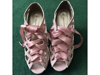 Beautiful baby pink Dorothy Perkins heels with ribbons - size 5