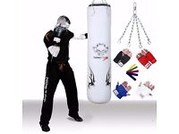 TurnerMAX White Wings Vinyl Punch Bag with Inner Gloves, Swivel Chain And Stretch Band