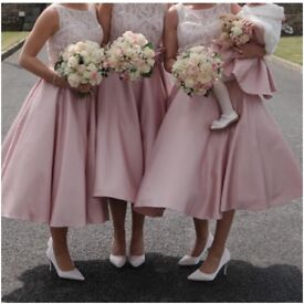 Beautiful blush pink tea length bridesmaid dresses