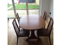 G Plan dining room table and chairs