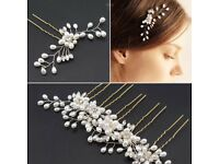 Pearl & Diamanté Flower Leaf Hair Pin Comb Accessory Bridal Bridesmaid