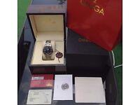 Complete Omega box set silver bracelet black face glass back Omega seamaster 300 with sweeping swiss