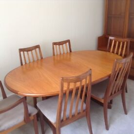 Nathan teak dining table and 6 chairs, extends for up to 10 chairs