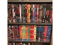 DVD collection including storage shelves