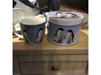 "🐧A pair of unused in original collectors tin ""Monty the penguin porcelain mugs"" from John Lewis🐧"