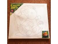 Fun Kid's DIY Activity Single Pack Canvas Painting Craft Kit & Paint - Baby Dinosaur Hatching