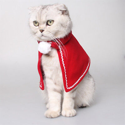 Dog Cat Winter Outfit Clothes Funny Cloak Cape for Christmas Holiday Dress_L ()
