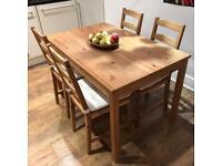 IKEA JOKKMOKK pine wood table and 4 chairs with cushions