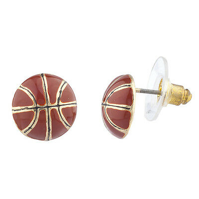 - Lux Accessories Gold Tone Brown Enamel Sports Basketball Novelty Post Earrings