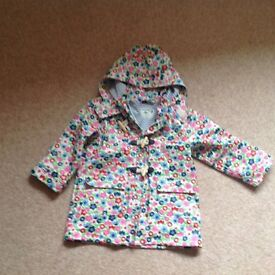 Girls Jojo Maman Babe waterproof with cosy lining coat - immaculate condition