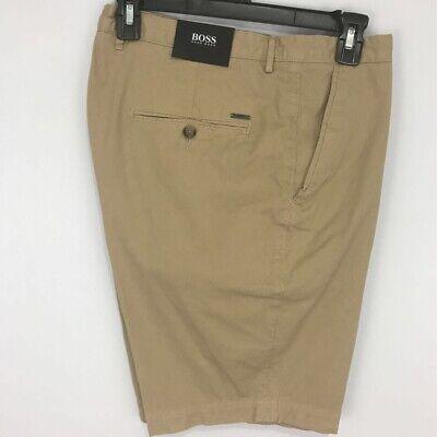 $128 Hugo Boss Mens Slice Shorts Beige Khaki Flat Front Stretch 38 (54 EU) 38R Clothing, Shoes & Accessories
